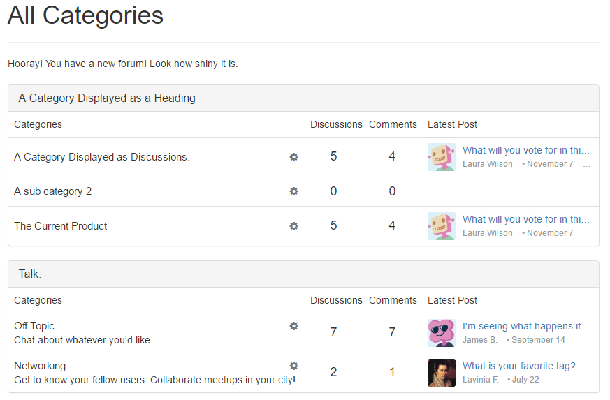 "The main page of your forum may be set to recent discussions, best of, or categories. This is an example of a categories page in the ""Bootstrap 3"" theme, with headings differentiating the sections."