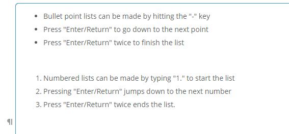 Number List, Bullet List